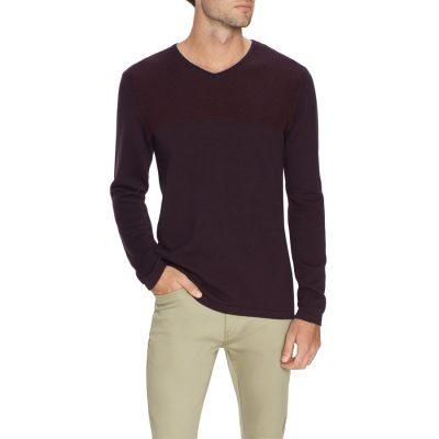 Fashion 4 Men - Tarocash Mitchell Textured V Neck Knit Burgundy M
