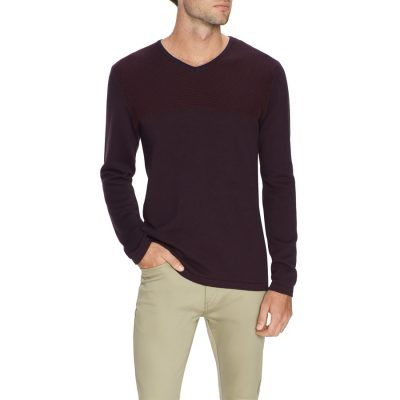 Fashion 4 Men - Tarocash Mitchell Textured V Neck Knit Burgundy Xxl