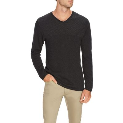 Fashion 4 Men - Tarocash Mitchell Textured V Neck Knit Charcoal L