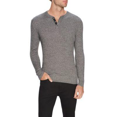 Fashion 4 Men - Tarocash Nixx Rib Henley Knit Grey Marle Xxl
