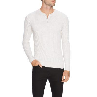 Fashion 4 Men - Tarocash Nixx Rib Henley Knit Ice L