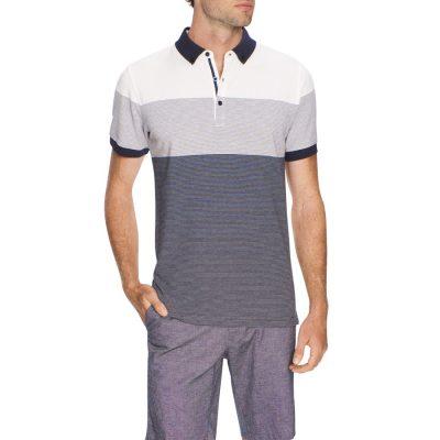 Fashion 4 Men - Tarocash Ralph Stripe Pique Polo Navy M