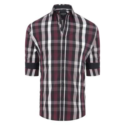 Fashion 4 Men - Tarocash Rowan Stretch Check Shirt Burgundy 4 Xl