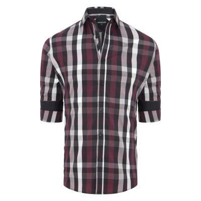 Fashion 4 Men - Tarocash Rowan Stretch Check Shirt Burgundy S