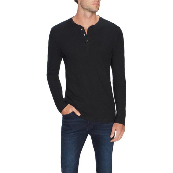 Fashion 4 Men - Tarocash Ryan Waffle Henley Black S