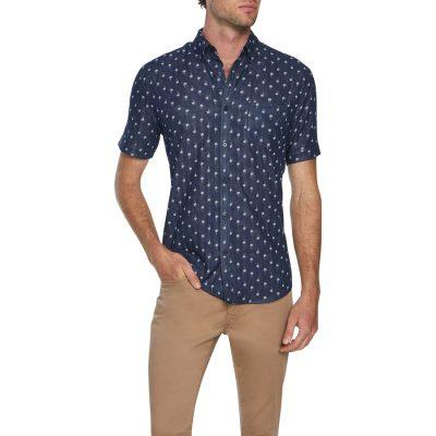 Fashion 4 Men - Tarocash Two Face Palm Shirt Navy L