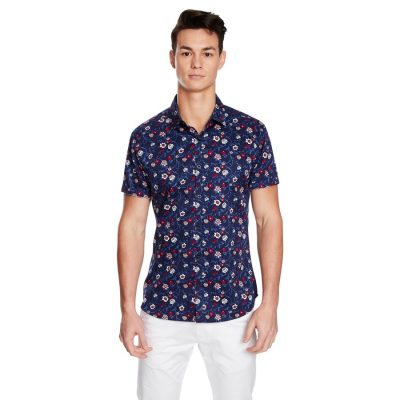 Fashion 4 Men - yd. Botanical Ss Shirt Navy L