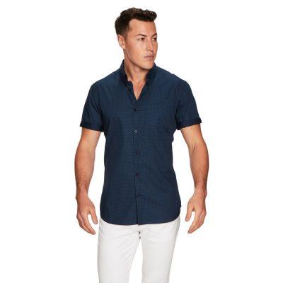 Fashion 4 Men - yd. Ellis Spot Ss Shirt Mid Blue 2 Xs