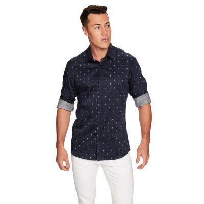 Fashion 4 Men - yd. Flamingo Spot Slim Fit Shirt Navy Xxl
