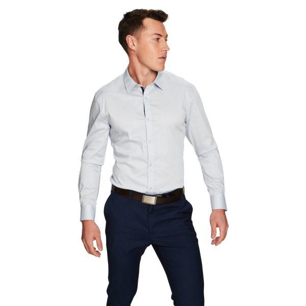 Fashion 4 Men - yd. Lake Slim Fit Dress Shirt Light Blue M