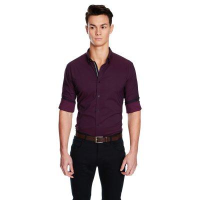 Fashion 4 Men - yd. Leeman Slim Fit Shirt Burgundy M