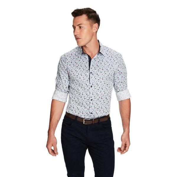 Fashion 4 Men - yd. Metro Slim Fit Shirt Blue Print 3 Xs