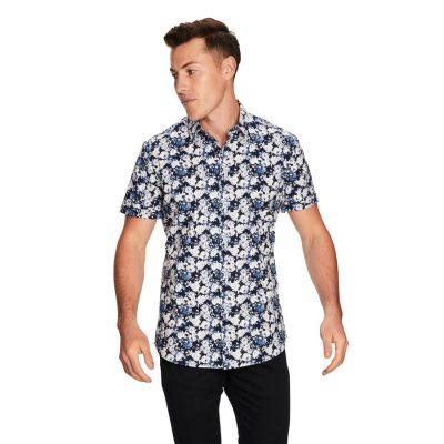 Fashion 4 Men - yd. Vito Floral Ss Shirt Blue S