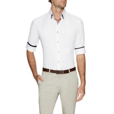 Fashion 4 Men - Tarocash Austin Slim Textured Shirt White Xl