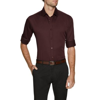 Fashion 4 Men - Tarocash Brock Stretch Shirt Burgundy Xxxl