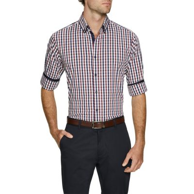 Fashion 4 Men - Tarocash Clay Stretch Check Shirt Burgundy Xl