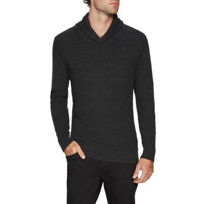 Fashion 4 Men - Tarocash Colby Shawl Collar Knit Charcoal Xxxl