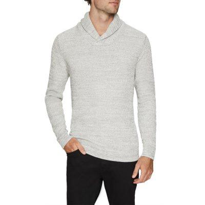 Fashion 4 Men - Tarocash Colby Shawl Collar Knit Ice Xxl