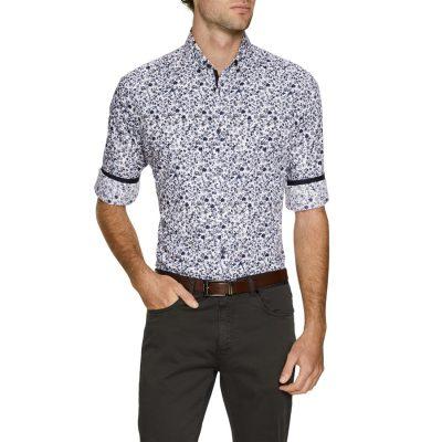 Fashion 4 Men - Tarocash Conrad Print Shirt Blue S