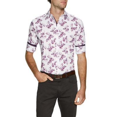 Fashion 4 Men - Tarocash Crosby Stretch Slim Shirt Berry M