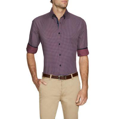 Fashion 4 Men - Tarocash Diego Print Shirt Burgundy Xxxl