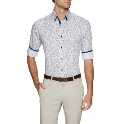Fashion 4 Men - Tarocash Gunner Slim Print Shirt Blue M