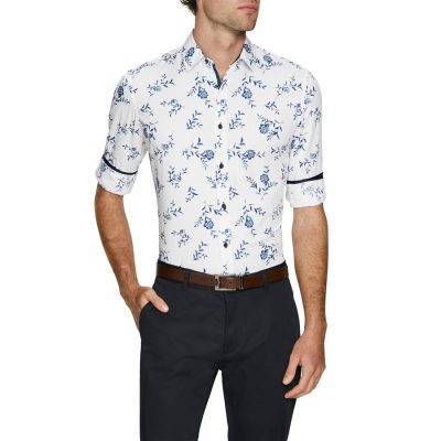 Fashion 4 Men - Tarocash Hardy Slim Print Shirt White Xxxl