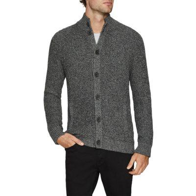 Fashion 4 Men - Tarocash Harrison Textured Cardigan Charcoal Xl