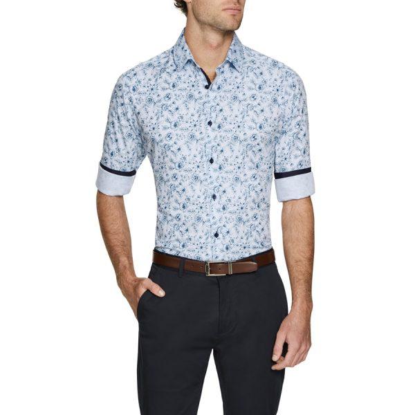 Fashion 4 Men - Tarocash Hunter Print Shirt Blue Xxxl