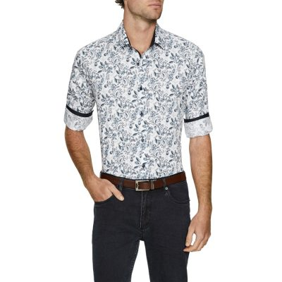 Fashion 4 Men - Tarocash Lancelot Stretch Print Shirt Blue 4 Xl