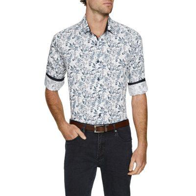 Fashion 4 Men - Tarocash Lancelot Stretch Print Shirt Blue L