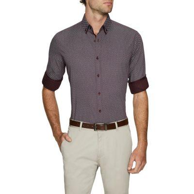Fashion 4 Men - Tarocash Lord Print Shirt Burgundy 5 Xl