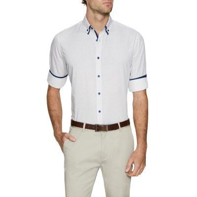 Fashion 4 Men - Tarocash Lord Print Shirt White L