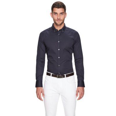 Fashion 4 Men - yd. Ballard Slim Fit Dress Shirt Navy 2 Xs