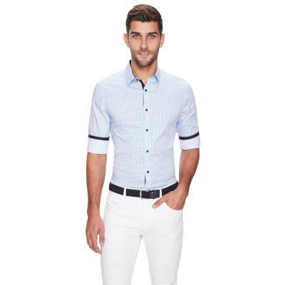 Fashion 4 Men - yd. Everglades Slim Fit Shirt Blue Print 2 Xs