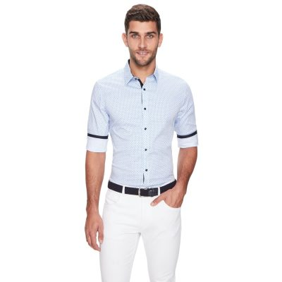 Fashion 4 Men - yd. Everglades Slim Fit Shirt Blue Print M