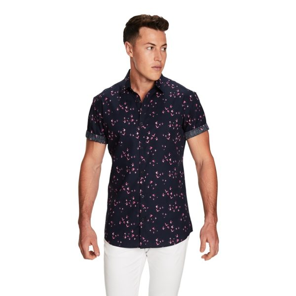Fashion 4 Men - yd. Flight Printed Ss Shirt Navy 3 Xs