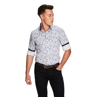 Fashion 4 Men - yd. Frenchie Print Slim Fit Shirt Blue M