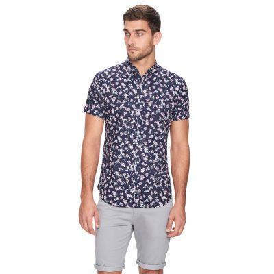 Fashion 4 Men - yd. Levin Floral Ss Shirt Dark Blue S