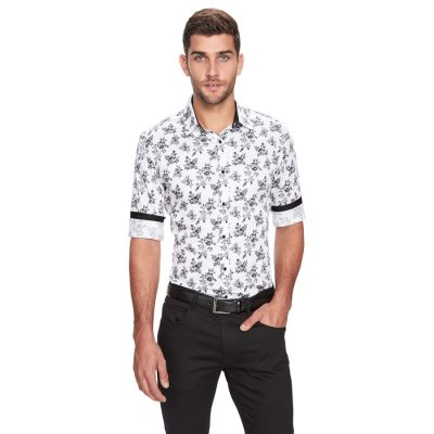Fashion 4 Men - yd. Monochrome Floral Slim Fit Shirt White 3 Xs