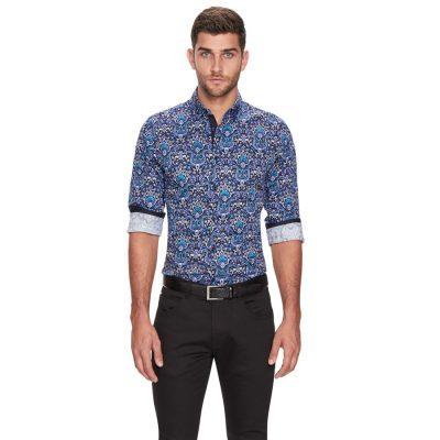 Fashion 4 Men - yd. Nox Large Paisley Shirt Dark Blue Xs