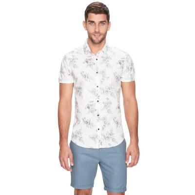 Fashion 4 Men - yd. Prince Floral Ss Shirt White Xs