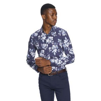 Fashion 4 Men - yd. Rome Print Slim Fit Shirt Dark Blue M