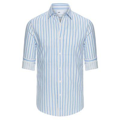 Fashion 4 Men - yd. Stanley Stripe Shirt Blue Xl