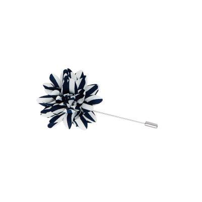 Fashion 4 Men - yd. Stripe Floral Lapel Pin White/Navy One