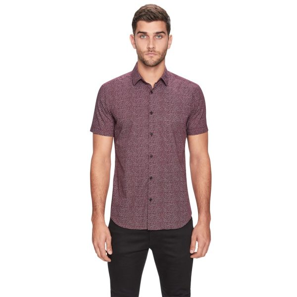 Fashion 4 Men - yd. Twee Floral Ss Shirt Burgundy 3 Xs