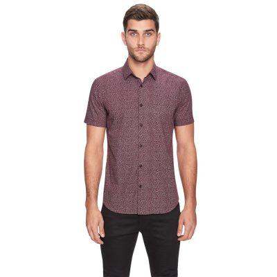 Fashion 4 Men - yd. Twee Floral Ss Shirt Burgundy L