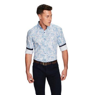 Fashion 4 Men - yd. Vantage Printed Shirt Blue Xl