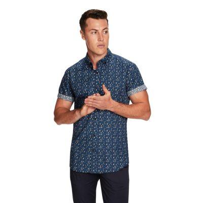 Fashion 4 Men - yd. Webster Ss Shirt Blue Xs