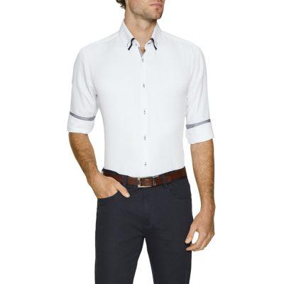Fashion 4 Men - Tarocash Archie Textured Shirt White 4 Xl